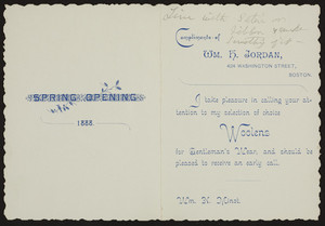 Invitation for Spring Opening, Wm. H. Jordan, 424 Washington Street, Boston, Mass., 1888