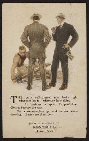 Postcard for Kuppenheimer Clothes, Kennedy's, Hyde Park, Mass., May 23, 1910