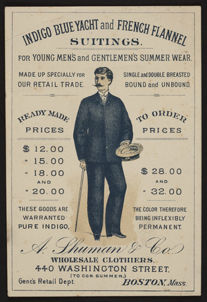 Trade card for A. Shuman & Co., wholesale clothiers, 440 Washington Street to corner Summer, Boston, Mass., ca. 1885