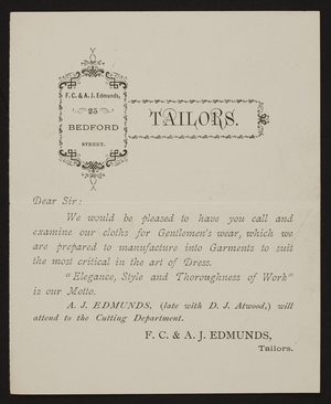 Trade card for F.C. & A.J. Edmunds, tailors, 25 Bedford Street, Boston, Mass., undated