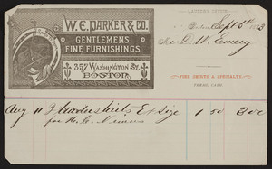 Billhead for W.E. Parker & Co., gentlemens fine furnishings, 357 Washington Street, Boston, Mass., dated September 5, 1883