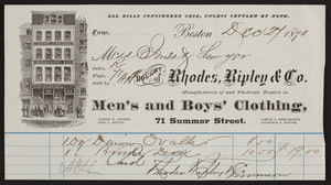 Billhead for Rhodes, Ripley & Co., men's and boys' clothing, 71 Summer Street, Boston, Mass., dated December 27, 1870