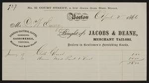 Billhead for Jacobs & Deane, merchant tailors, No. 21 Court Street, Boston, Mass., dated April 2, 1866