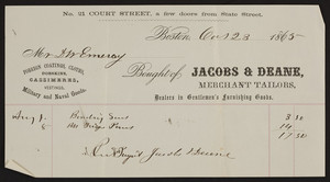 Billhead for Jacobs & Deane, merchant tailors, 21 Court Street, Boston, Mass., dated October 23, 1865