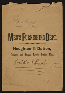 Envelope for Houghton & Dutton, Men's Furnishing Dept., Tremont and Beacon Streets, Boston, Mass., undated