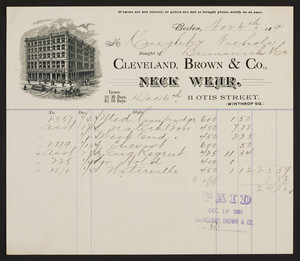 Billhead for the Cleveland, Brown & Co., neck wear, 11 Otis Street, Winthrop Square, Boston, Mass., dated November 6, 1891