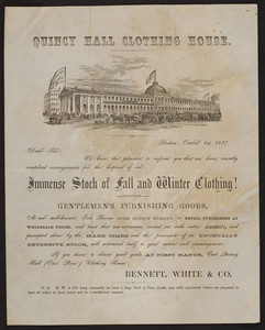 Handbill for Quincy Hall Clothing House, Bennett, White & Co., Boston, Mass., October 1, 1857