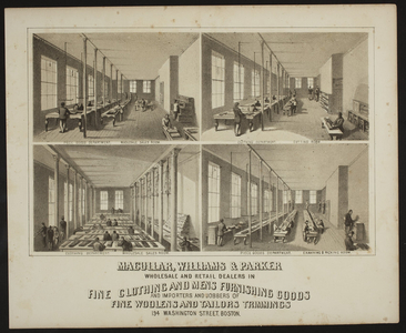 Macullar, Williams & Parker, fine clothing and mens furnishing goods, 194 Washington Street, Boston, Mass., undated
