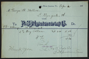 Billhead for F. & S. Manufacturing Co., White River Junction, Vermont, dated April 28, 1911