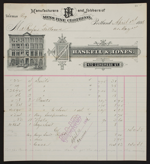 Haskell & Jones., mens fine clothing, 470 Congress Street, Portland, Maine, dated April 1, 1886