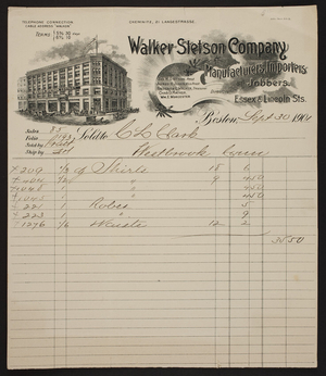 Billhead for Walker Stetson Company, manufacturers, importers, jobbers, Essex & Lincoln Streets, Boston, Mass., dated September 20, 1901