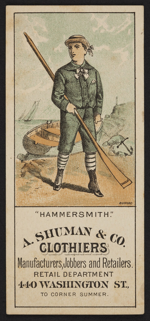 Trade card for A. Schuman & Co., clothiers, 440 Washington Street to corner Summer, Boston, Mass., undated