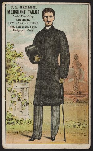 Trade card for J.L. Harlem, merchant tailor, New Bank Building, corner Main & State Streets, Bridgeport, Connecticut, undated