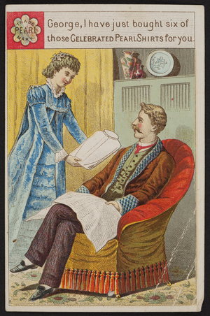 Trade card for the Pearl Shirt, Tinkham & Co., Springfield, Mass., 1884