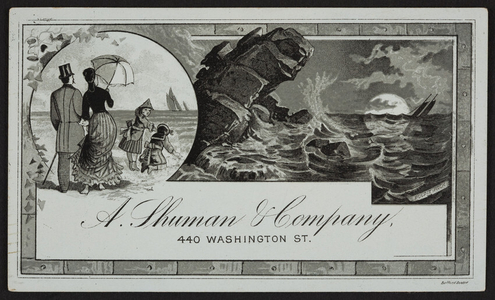 Trade card for A. Shuman & Company, clothiers, 440 Washington Street to corner Summer, Boston, Mass., undated