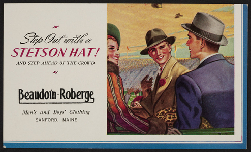 Trade card for Beaudoin Roberge, men's and boys' clothing, Sanford, Maine, undated