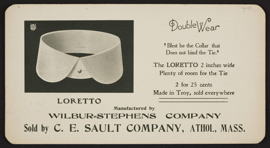 Trade card for The Loretto, Wilbur-Stephens Company, Troy, New York, undated
