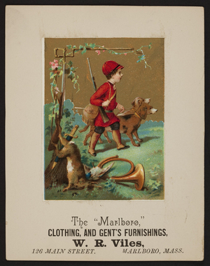 Trade card for The Marlboro, W.R. Viles, clothing, and gent's furnishings, 126 Main Street, Marlboro, Mass., undated
