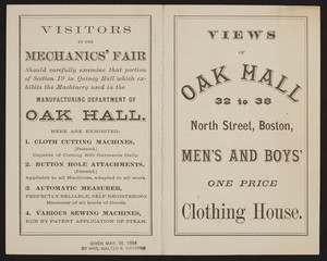 Views of Oak Hall, men's and boys' one price clothing house, 32 to 38 North Street, Boston, Mass., undated