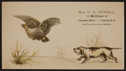 Trade card for Mrs. H.N. Newell, milliner, Columbian Block, Concord, New Hampshire, undated