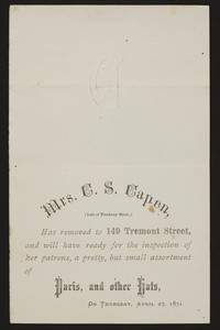 Trade card for Mrs. C.S. Capen, milliner, 149 Tremont Street, Boston, Mass., 1871
