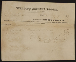 Billhead for White's Bonnet Rooms, Crosby & Loomis, Nos. 39 and 40 Hanover Street, Boston, Mass., dated May 9, 1839