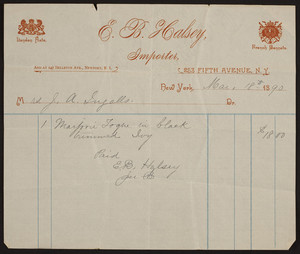 Billhead for E.B. Halsey, importer, 253 Fifth Avenue, New York, New York, dated March 18, 1890