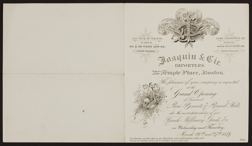 Invitation for Joaquin & Cie., importers, 32 Temple Place, Boston, Mass., 1879