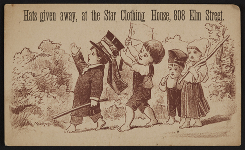 Trade card for Star Clothing House, 808 Elm Street, location unknown, 1883