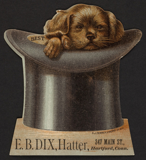 Trade card for E.B.Dix, hatter, 347 Main Street, Harford, Connecticut, undated