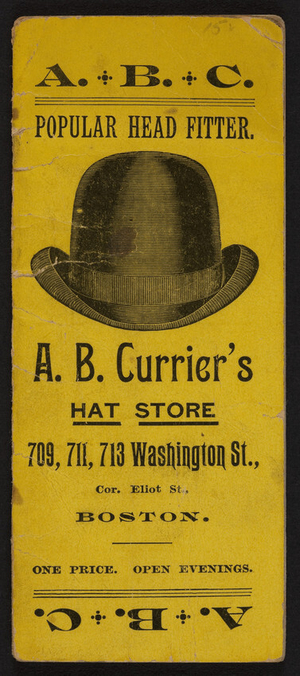 Notebook for A.B.Currier's Hat Store, 709, 711, 713 Washington Street, corner Eliot Street, Boston, Massachusetts, 1894