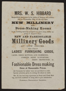 Handbill for Mrs. W.S. Hibbard, new millinery and dress making rooms, Rumney, New Hampshire, undated