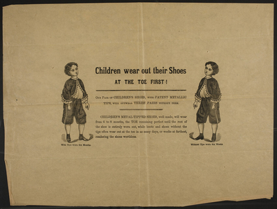 Children wear out their shoes at the toe first, location unkown, undated