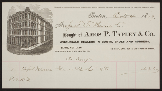 Billhead for Amos P. Tapley & Co., dealers in boots, shoes and rubbers, 42 Pearl, 206, 208 & 210 Franklin Street, Boston, Mass., dated October 4, 1879