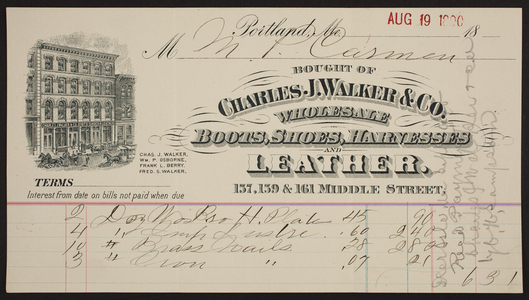 Billhead for the Charles J. Walker & Co., wholesale boots, shoes, harnesses and leather, 157, 159 & 161 Middle Street, Portland, Maine, dated August 19, 1890