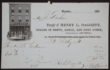 Billhead for Henry L. Daggett, boots, shoes, and shoe stock, 29 Kilby Street, Boston, Mass., ca. 1850