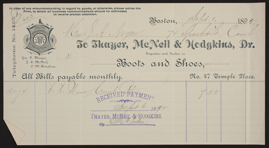 Billhead for Thayer, McNeil & Hodgkins, Dr., boots and shoes, No. 47 Temple Place, Boston, Mass., dated September 1, 1892