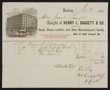 Billhead for the Henry L. Daggett & Co., boots, shoes, leather and shoe manufacturers' goods, 101 & 103 Pearl Street, Boston, Mass., dated November 9, 1870