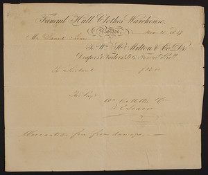 Billhead for the Faneuil Hall Clothes Warehouse, drapers & tailors, Wm.H. Milton & Co., Dr., 4 & 6 Faneuil Hall, Boston, Mass., dated November 10, 1837
