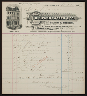 Billhead for B.B. Farnswoth & Co., boots & shoes, rubber goods, leather & findings, 133 Middle Street, Portland, Maine, dated October 14, 1887