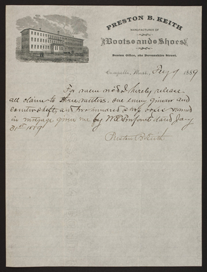 Letterhead for Preston B. Keith, boots and shoes, 280 Devonshire Street, Boston and Campello, Mass., dated February 9, 1889