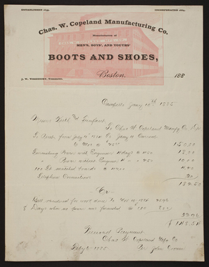 Billhead for the Chas. W. Copeland Manufacturing Co., men's, boys' and youths' boots and shoes, Boston and Campello, Mass., dated January 10, 1885