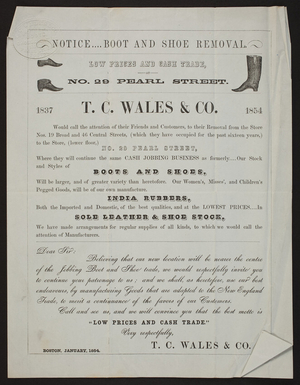 Circular for T.C. Wales & Co., boots and shoes, India rubbers, sole leather & shoe stock, No. 29 Pearl Street, Boston, Mass., January 1854