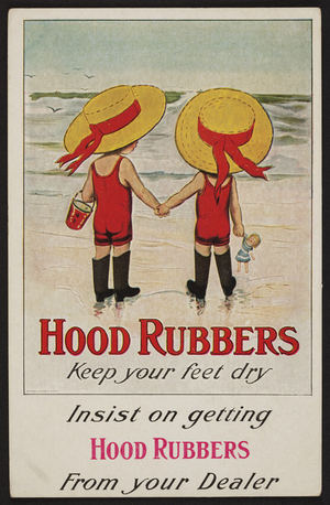Postcard for Hood Rubbers, location unkown, ca. 1910