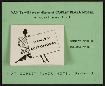 Trade card for Vanity Customodes, shoes, 576 Madison Avenue, New York, New York, undated