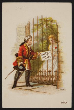 Trade card for Edwin C. Burt, fine shoes, New York, New York and W.H. Pearson & Co., 21 & 23 Temple Place, Boston, Mass., 1878