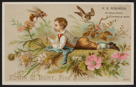 Trade card for Edwin C. Burt, fine shoes, New York, New York and P.B. Robinson, 221 Essex Street, Lawrence, Mass., undated