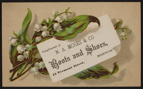 Trade card for N.A. Moses & Co., boots and shoes, 43 Tremont Street, Boston, Mass., undated