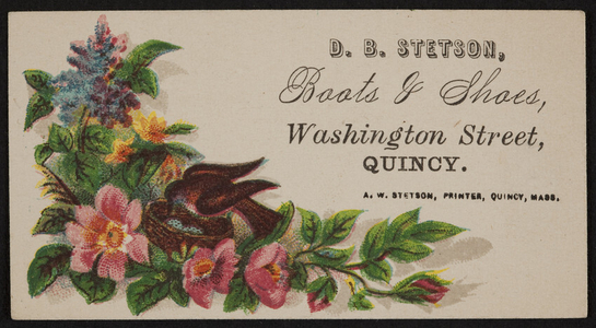 Trade card for D.B. Stetson, boots & shoes, Washington Street, Quincy, Mass., undated