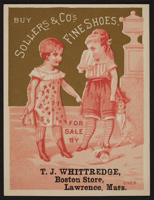Trade card for S.D. Sollers & Co.'s fine shoes, 417 Arch Street, Philadelphia, Pennsylvania, 1880